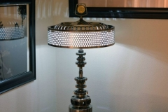 First lamp, made from various transmission parts and junkyard Plymouth shade, from 60's.