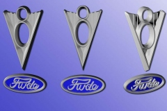 """Rude"" name emblem done in Ford style, along with vintage V8 emblem, 3D printed in nickel for custom cane."