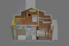 One of 2 house remodel visualization models, created in AutoCAD. Conversion of attic space into living quarters.