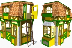 AutoCAD model of cottage themed clubhouse bed. For visualization and blueprints if needed.