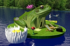 Frog themed floating campsite. Frog is tent, sleeping quarters in head.