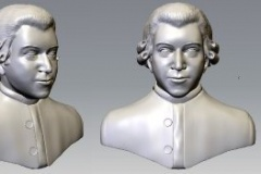 Mozart 3D model, created from paintings considered the most accurate, Mudbox model.