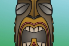 Mid-century inspired tiki design. Illustrator and Photoshop.