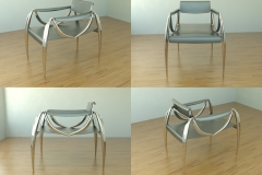 Low-slung metal and draped leather chair concept. 3ds Max.