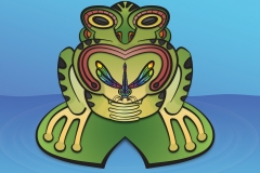 Frog and Dragonfly tiki design. Illustrator and Photoshop.