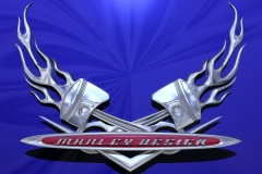 Hot Rod themed Manley Design logo.
