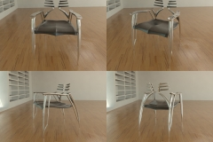 Rib chair, would have articulated ribs in metal and leather on base. 3ds Max.