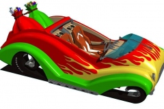 Hot Rod Santa Flying Sleigh model for 2004 Holiday card. AutoCAD model.
