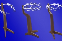 3D printed horns or branches on mid-century modern inspired wood base. Would be lit internally with LED's and have downlights distributed throughout.