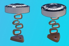 50's themed lamp, using hubcap/perforated metal shade as done on automotive lamps. 3ds Max. Wooden base, with routed out inset in each element, strip LED's inserted.