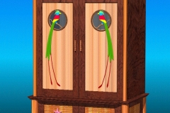 AutoCAD visualization model of matching Tiki themed armoire.