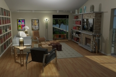 Living room design of beach house including matching furniture.