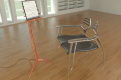 Ribbed chair and wooden music stand concept, holding electronic music book idea from 1989. 3ds Max.
