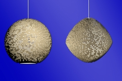 Pop-up themed hanging lamps. 3ds Max. Would be 3D printed. Right example has smoothing and modifiers applied.