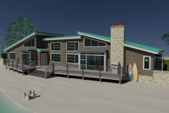 Rear view of beach house, AutoCAD.