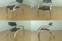 Leaf chair shown in metal and leather. 3ds Max.