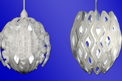 Ocean and mid-century modern themed 3D print hanging lamp shade concepts.  3ds Max.