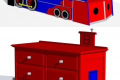 AutoCAD model of train trundle bed and caboose themed dresser. For blueprint production.
