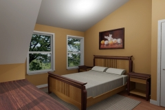 Bedroom set and interior concept, part of house remodel design project. AutoCAD.