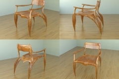 Leaf chair shown in wood. 3ds Max.