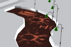 Old idea for path lights which project images. AutoCAD visualization, 2002.