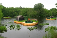 Concept visualization of floating greens re-purposed as camping islands. For Aquagreens.