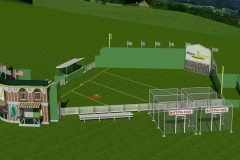 Render of concept for travelling wiffle ball stadium, for corporate promotion.