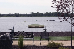 Spade shaped green installed at Jumer's casino lake.