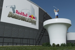"3ds Max render showing giant tee driving platform concept, for Red Bull ""Boardwalk Drive"" event."
