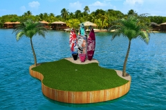Concept for tropical themed green for resort use.