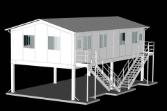 Webpage illustration of vision tower modular building, for cleanroom company. AutoCAD, 2004.