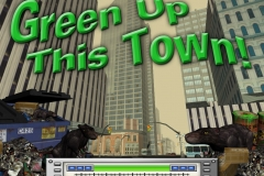"Splash page for ""Green up this town"" video game engine demo, for Applied Ideas."