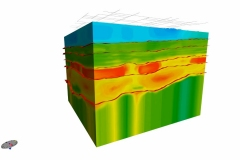 Ground penetrating radar visualization of shale oil field for television commercial. Animation was created of model rotating 360 degrees. 3ds Max.