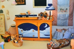Stars and Moon changing table/dresser with removable top. Also sold matching lamps.