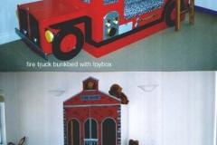 Firetruck themed bedroom set.