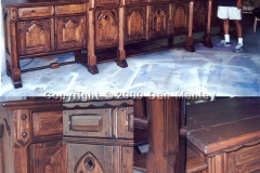 Large medieval style sideboard to match customer's distressed dining room table.