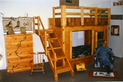 Early version of clubhouse bunk bed in pine.