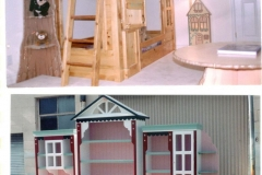 Small clubhouse bed, tree shelf and cabin lamp, Victorian themed desk/dresser and hutch set.