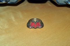 M ring, modeled after 50's GMC truck hood emblem. 3ds Max model, 3D printed in nickel steel.