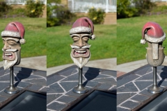 Santa Tiki shift knob, modeled in 3ds Max, 3D printed in white plastic and hand painted.