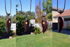 Leaf pendant necklace. Walnut and maple.