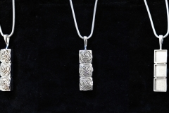 Art Deco Rose themed pendant. Modeled in 3ds Max, 3D printed in silver.