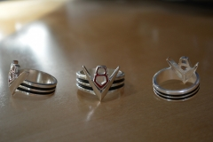 New V8 ring design 3D printed in silver. After some polishing, painted insets with 2 colors of enamel.