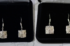 Matching earrings to go with the Art Deco Rose pendant. 3D print in silver.
