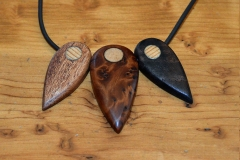 """Angel"" theme necklace, gift. Sapele, Elm Burl and Walnut."