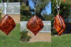Carpathian Elm Burl pendant, made for my wife.
