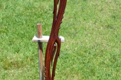 Most complex walking stick, vine and thorns design, figured sapele.