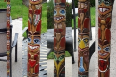 Family member totem pole walking stick, made for my son when he visited Alaska in the 5th grade. Based on Alaskan Tlingit Indian totem poles. Spruce