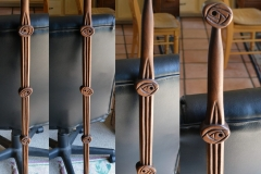 Charles Rennie Macintosh rose design inspired walking stick, walnut. Gift to my wife.