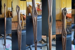 Charles Rennie Macintosh inspired walking stick, walnut.